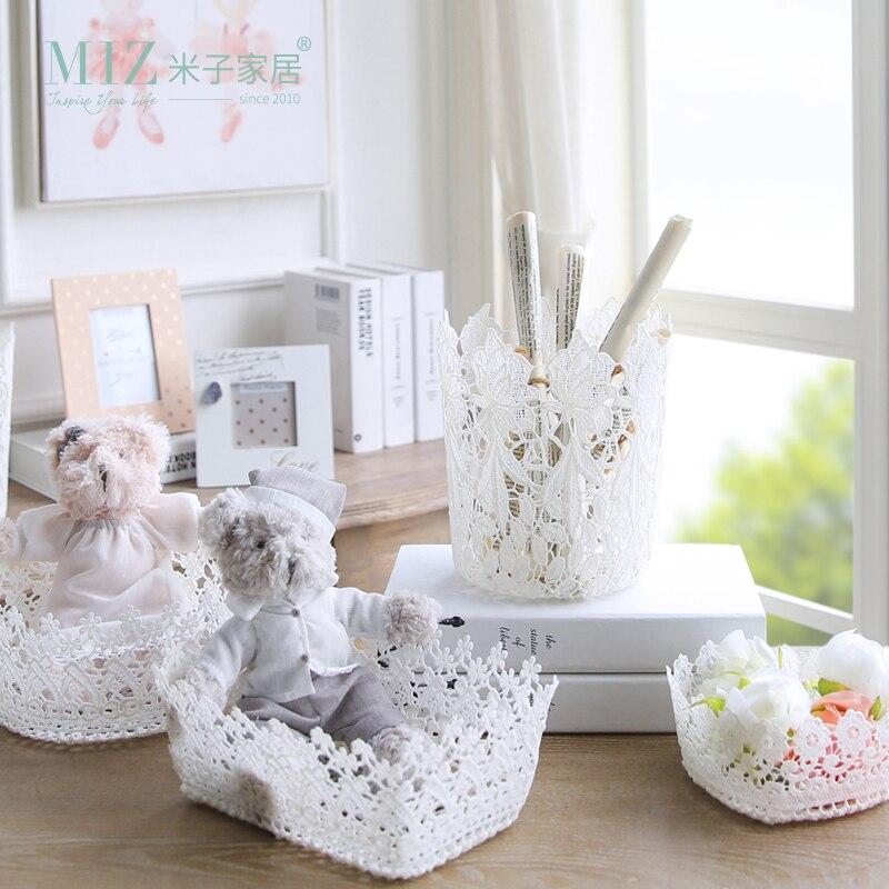 Miz 2 Pieces Home Organizer Storage Basket Heart Shape Storge Box for Home Organization Floral Home Decoration Accessory