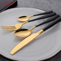 1lot/24 pcs luxury black plated dinnerware sets good polish steel dinner knives forks tablespoons cutlery set family tableware