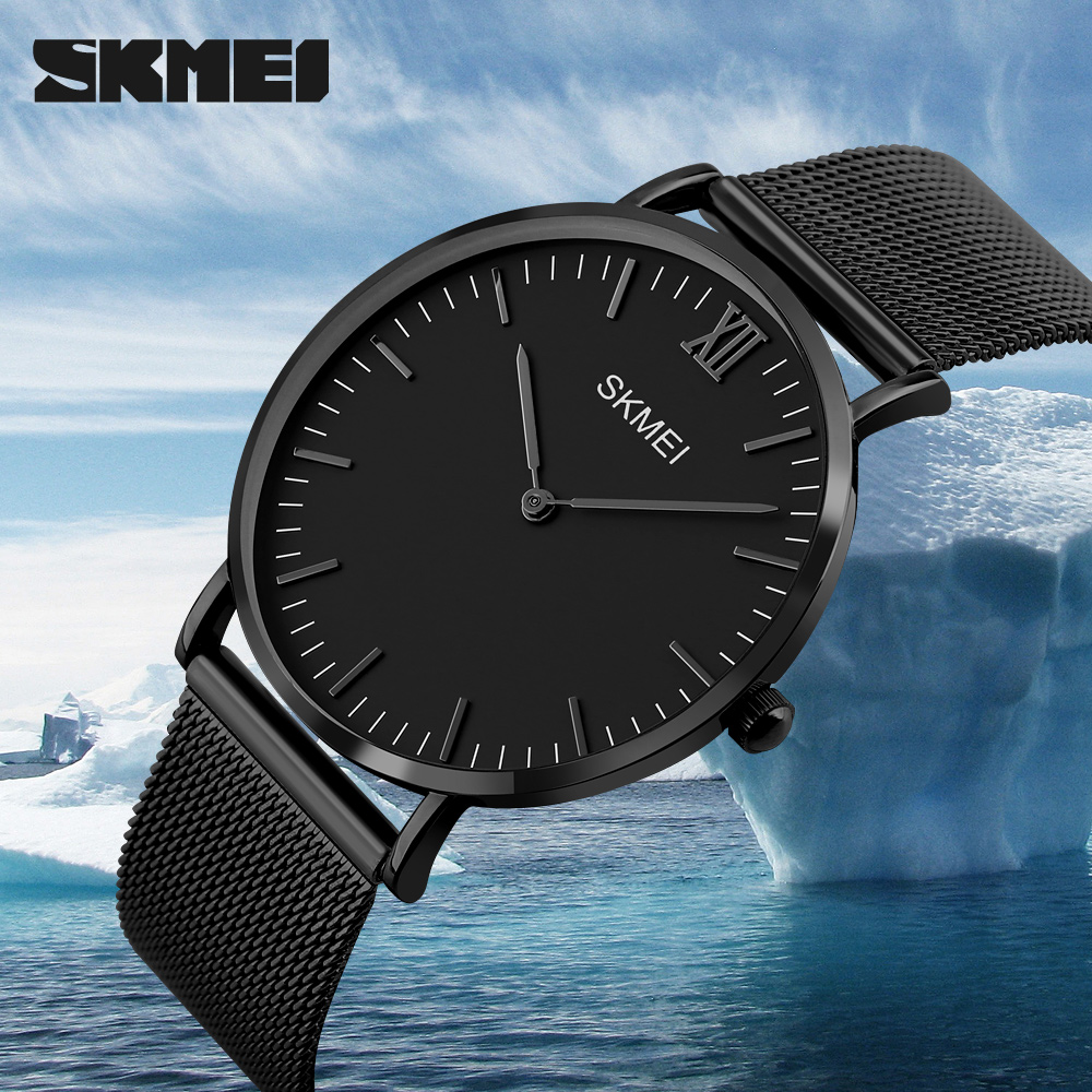 <font><b>SKMEI</b></font> New Top Luxury Watch Men Brand Men's Watches Ultra Thin Stainless Steel Mesh Band Quartz Wristwatch Fashion Male watches image