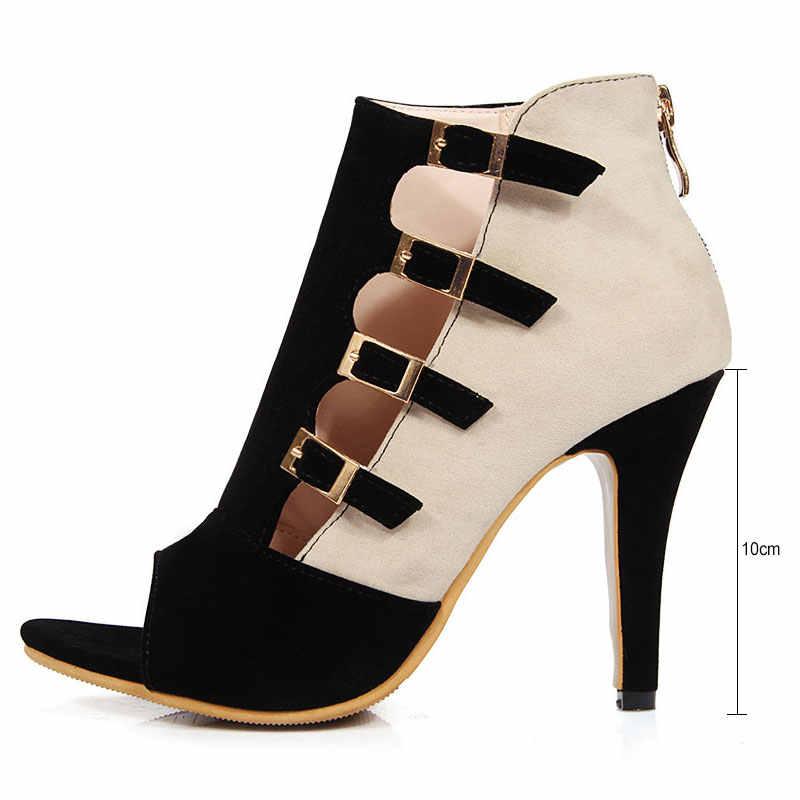 Fan nhân dân tệ Thương Hiệu Phụ Nữ Dép Mùa Hè Cộng Với Kích Thước 33-43 Thời Trang Zip cao Gót Mix color Phụ Nữ Pump Giày Người Phụ Nữ Văn Phòng cưới giày