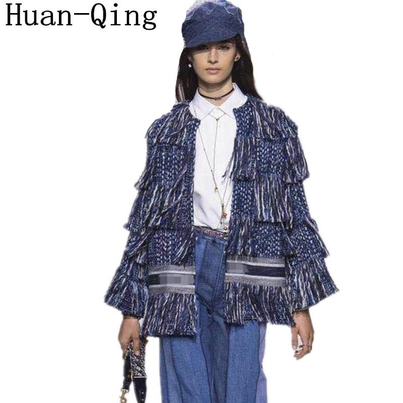 High Quality Runway Women Tweed Jacket Coat Vintage Luxury Tassel Casaco Feminino Long Sleeve Open Stitch