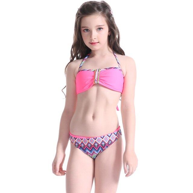 Bathing Teo Swimsuit Halter Bandeau 2018 Suit Girl Pads Beach Swimming Piece Bikini Wear Top Us20 Swimwear In 4children Kid Bikinis f67gYby