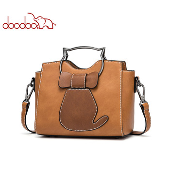 DOODOO Brand Women Handbag Tote Bag Female Shoulder Crossbody Bags Ladies Pu Leather Top-handle Kitten Appearance Messenger Bags