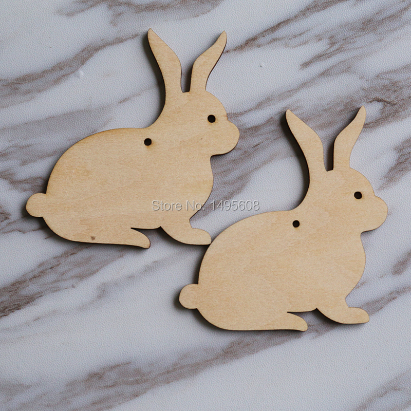 Wooden BUNNY RABBITS for Easter Childrens Hanging Craft Decoration or Gift Tag