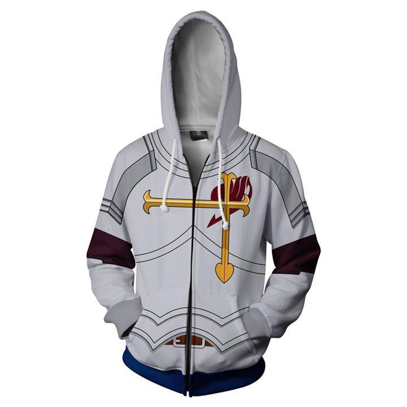 Fairy Tail Hoodie Cosplay Fairy Tail Natsu Lucy Gray Jackets 3D Casual Zipper hooded Sweatshirts Man Woman Clothing