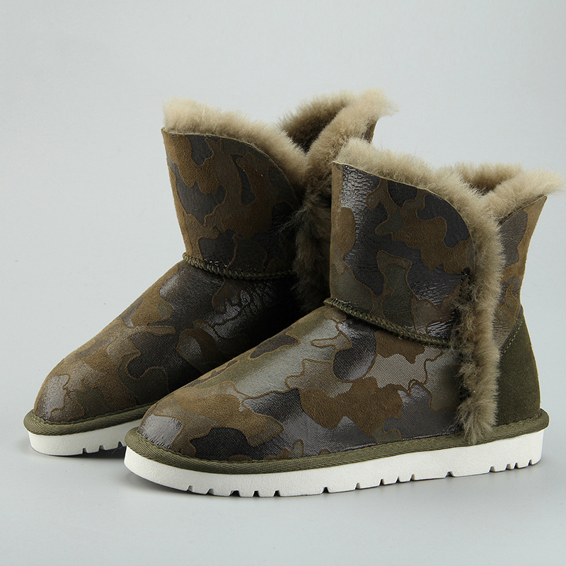 Trendy unique warm and wear-resistant non-slip winter women's shoes Sheepskin with wool camouflage women's winter snow boots