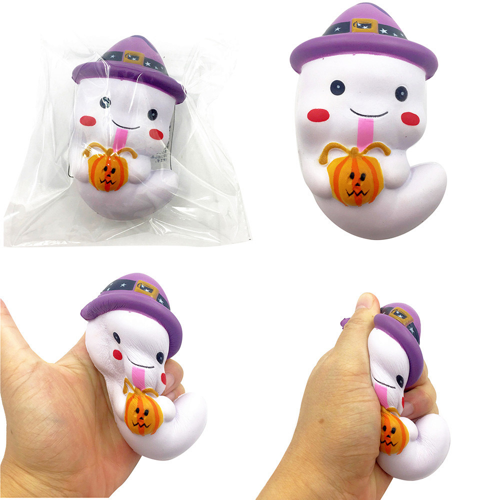 12cm Cute Ghost Pressure Toys Slow Rising Fun Toy Halloween Gift Phone Strap Environmentally Cute Ghost  Decompression Toys