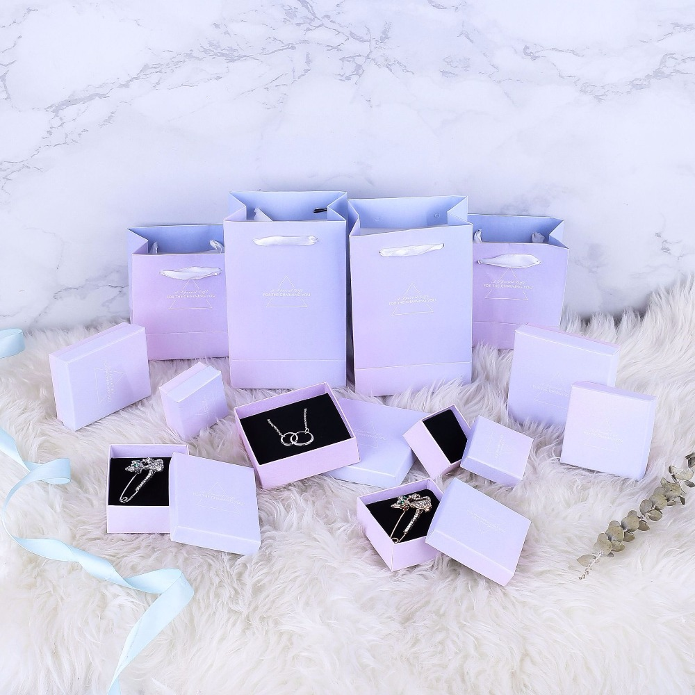 NEW 1PCS Pink Blue Color Paper With Thick 1.5CM Black Sponge Necklace Present Earring Jewelry Display And Packaging Display