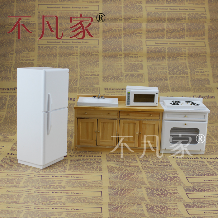 цена на Dollhouse 1/12 Scale Miniature furniture Kitchen set cooking bench Refrigerator Microwave Oven