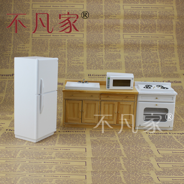 Dollhouse 1/12 Scale Miniature Furniture Kitchen Set Cooking Bench  Refrigerator Microwave Oven