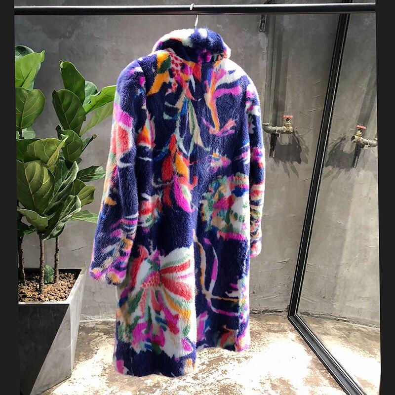 Collar down À De Fleur Hiver Imprimer Lvchi Réel Moyen D'importation Turn Vison S Velours 2019 Manches Multi Longues Manteau Femmes Causalité w6Y1zYqOa