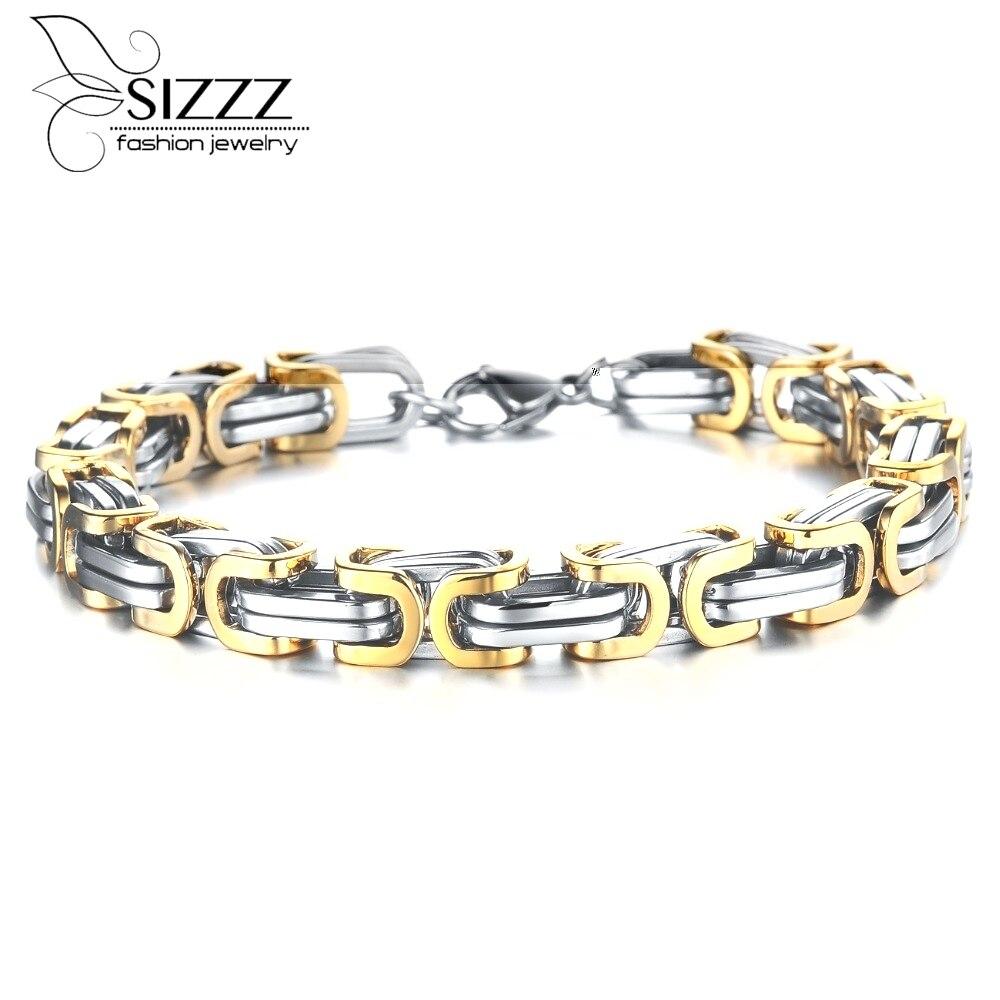 Charm Bracelets Bangles Men Gold Chain Bracelet Stainless Steel Men  Bracelet Jewelry Pulsera Fashion Charms Wholesale