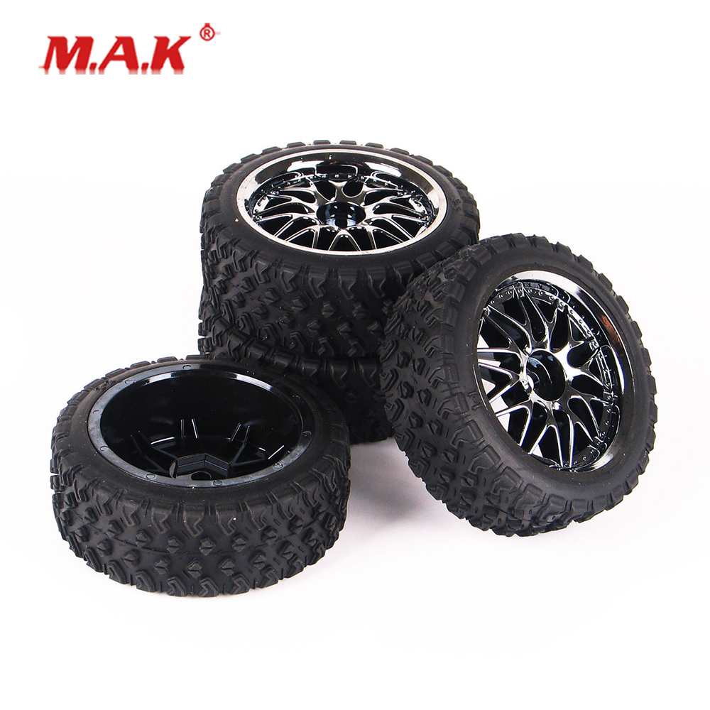 1:10 Scale 10087-21104 Rubber Tires Wheel Rims with 12mm Hex fit 1/10 Rally HPI HSP Racing RC Off Road Car Model Accessories