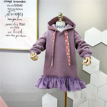 2018 New Winter Item Girl Warm Hooded Ruffle Hem Dress Two Colors Tops & Tees