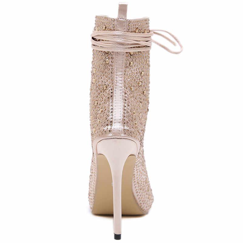 FEDONAS Yüksek Kalite Kadınlar Peep Toe İlkbahar Yaz Sandalet Lace Up Seksi Rhinestone Parti Düğün Ayakkabı Kadın Yüksek Topuklu Pompalar