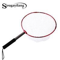 Sougayilang Retractable Fishing Brail Net Red Soft Rubber Fly Fishing Landing Net 65x40x27cm Large Mesh Hand