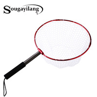 Sougayilang Retractable Fishing Brail Net Red Soft Rubber Fly Fishing Landing Net 65x40x27cm Large Mesh Hand