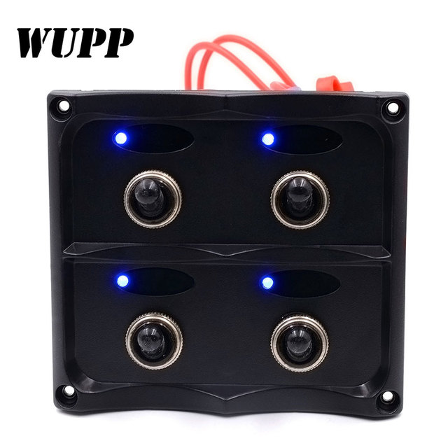 wupp 12 24v waterproof 4 gang toggle switch panel with fuse led Push Button Starter Switch at Fuse Box To Tagle Switch