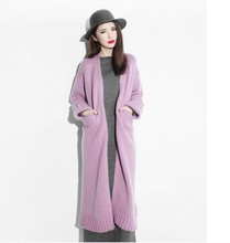 15 female cashmere cardigan overcoat ultra long paragraph over-the-knee loose sweater female wool outerwear