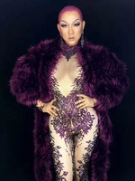 Women New guest custom purple full rhinestones tight body jumpsuit fur suit female singer female DS custom costumes celebration