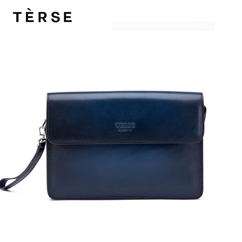 TERSE New Handbags Cow Leather Three Layers Wallets with Cover with Card Holder Fashion Style Clutches Bags Customize Logo 9632