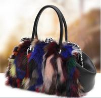 2019 new fox fur women's messenger bag lady's shoulder bag patchwork fox fur handbag