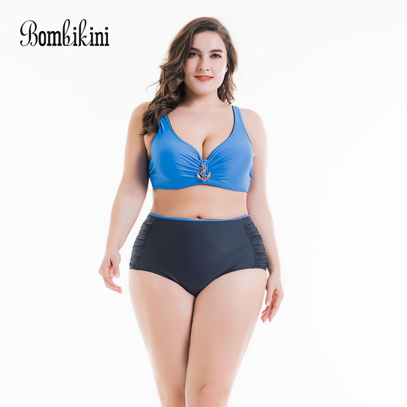 2018 High Waist Bikini Plus Size Swimwear Women Push Up Bikinis Set Solid Swimsuit Sexy Tankini Beach Bathing Suits plus size new bikinis 2017 women swimsuit high waist bathing suit swimwear push up bikini set vintage retro beach wear 2xl skirt