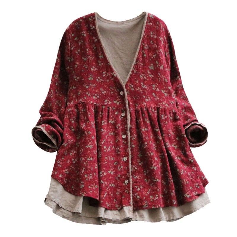 Forest Small Floral Print Cardigan Lacing V-neck Vintage  Shirt  Mori Girl