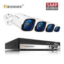 Einnov система видеонаблюдения 4CH 5MP AHD камера безопасности DVR комплект видеонаблюдения водостойкая наружная домашняя система видеонаблюдения 2 ТБ HDD