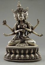 Decorative old Tibet copper plating silver carved Buddha statue 3 first six arm