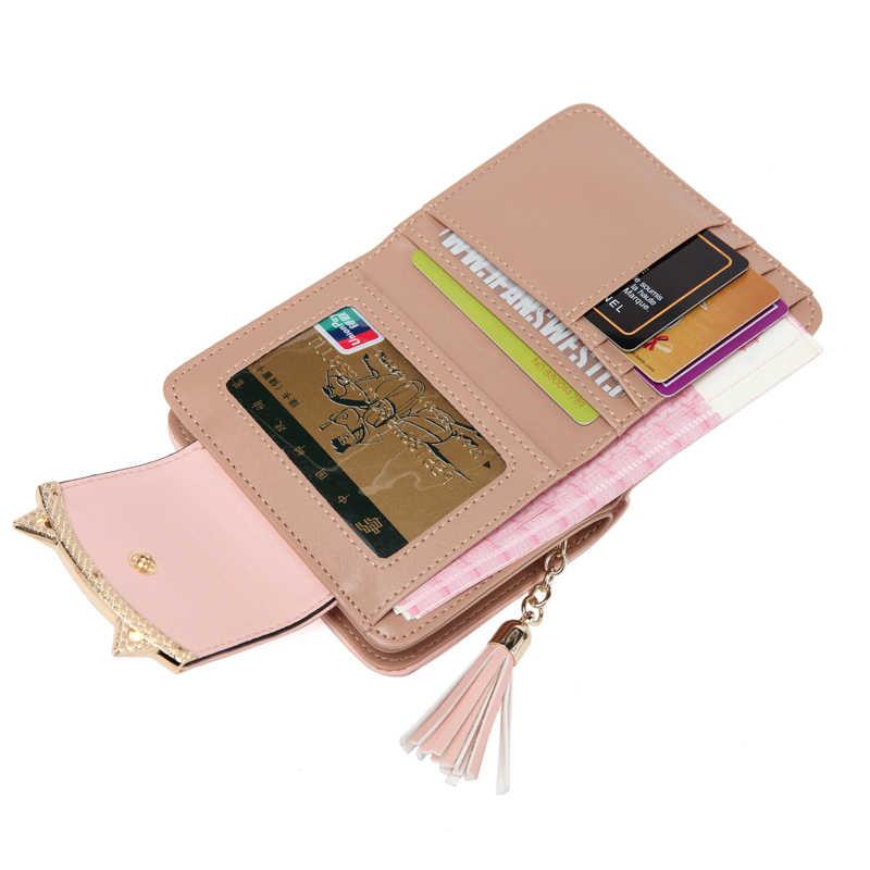 2018 корейский милый кот аниме кожа Trifold тонкий мини кошелек для женщин небольшой клатч женский монет держатель для карт доллар сумка Cuzdan
