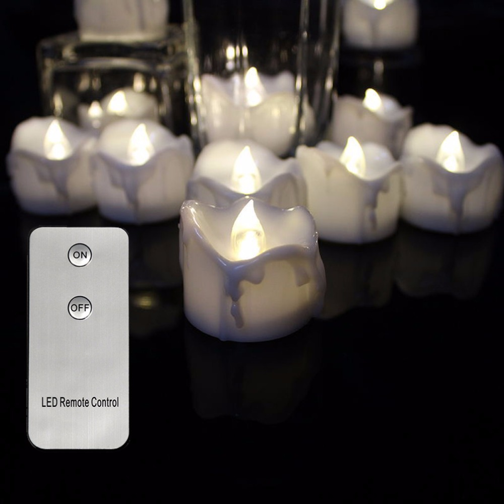 Pack of 6 Remote Warm White Flickering Battery Operated Tealights Candles,Electronic Flameless Led Candle Light For Wedding