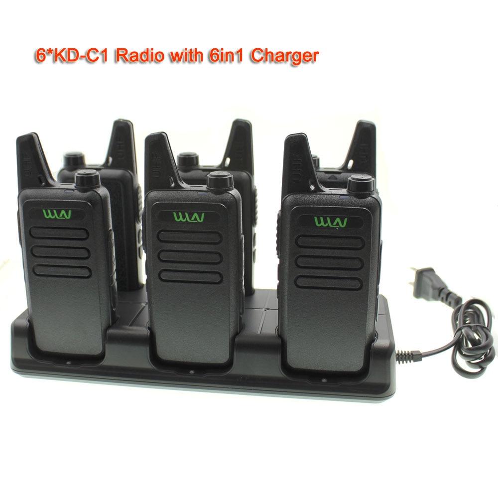 6PCS Mini Walkie Talkie WLN KD C1 Transceiver UHF 400 470Mhz Portble Two Way Radio 5W