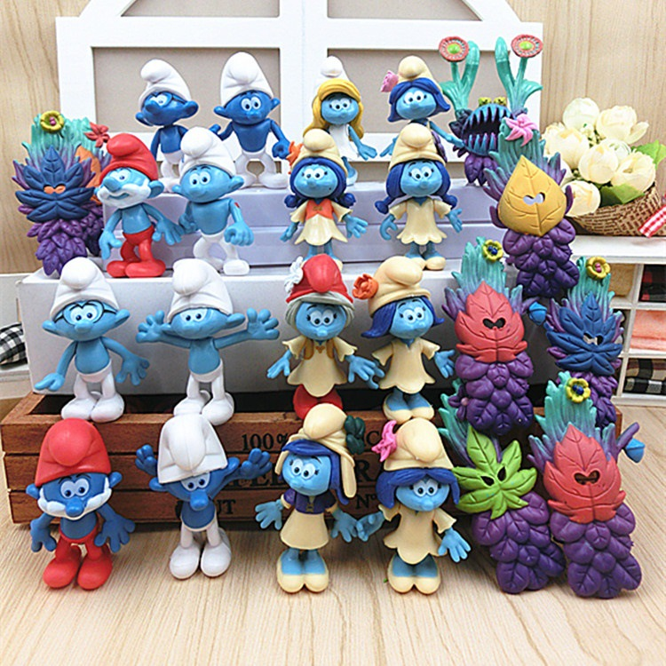 24 pcs/set The Elves Papa Smurfette Clumsy Figures Elves Papa Action Figure for children Toys dolls blue color Birthday gift jakks pacific movie grab ems 3 figure smurfette toys gift new
