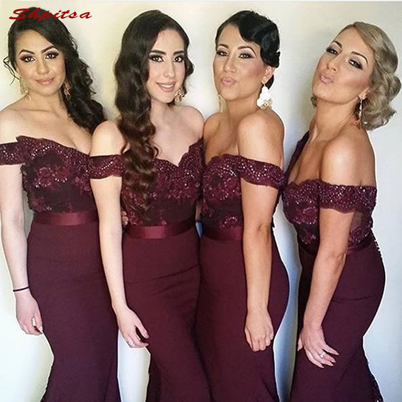 Lace Burgundy   Bridesmaid     Dresses   Long for Wedding Party Women Brides Maid Dinner   Dresses   2018