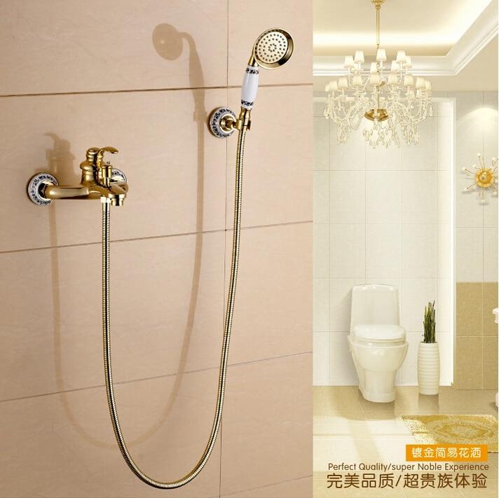 Luxury Brass gold Bathroom Exposed Shower Faucets Wall Mounted Bath Mixer Shower Set Water Tap torneira chuveiro ducha стоимость