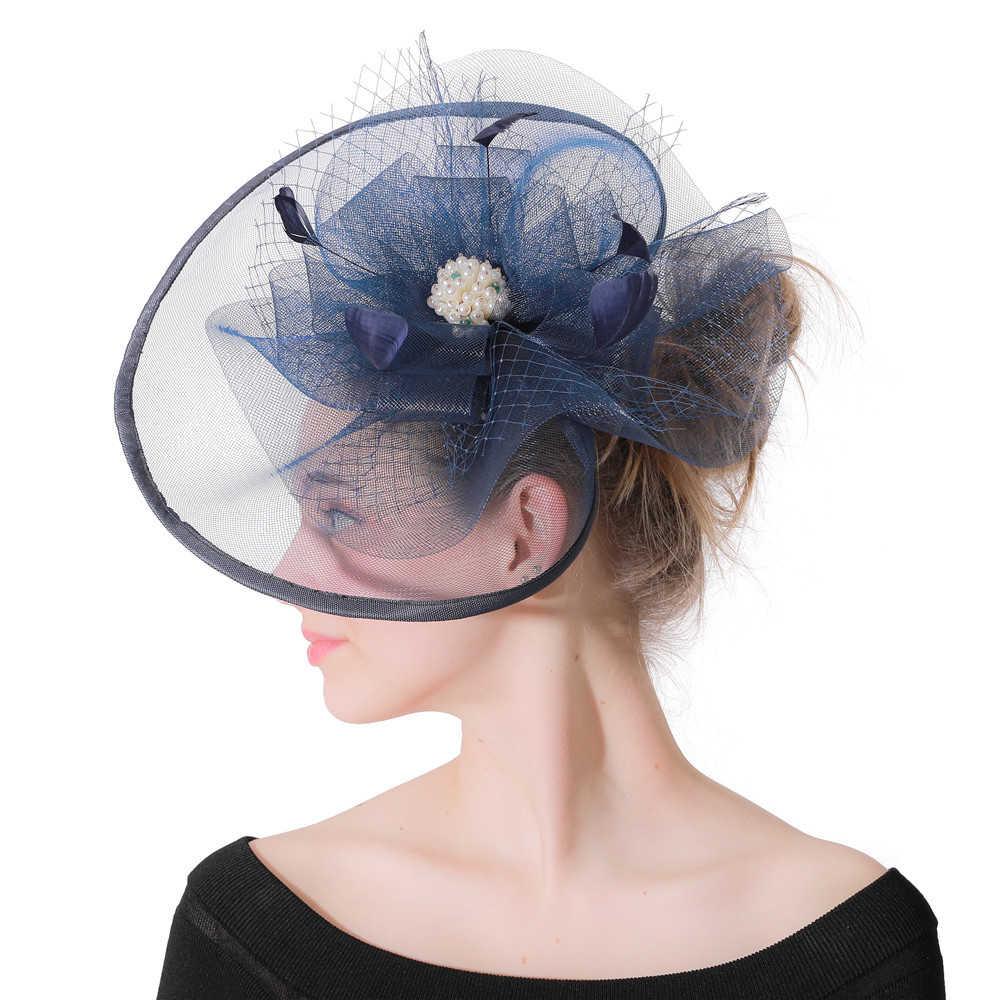 الريش الشالات الكتان القبعات للنساء البحرية الأزرق شبكة الزفاف الزفاف قبعة مع عقال 2019 جديد الأزياء الفاتحة خطاباتخطابهزوجات