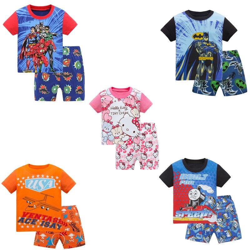 2018 verano patrón de dibujos animados niños pijamas de manga corta ...