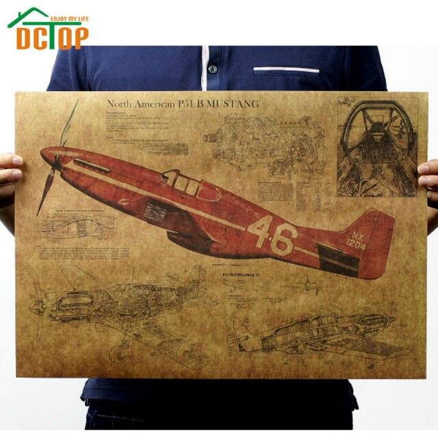 Flugzeug Vintage Poster Nordamerikanischen Flugzeug Wandaufkleber ...
