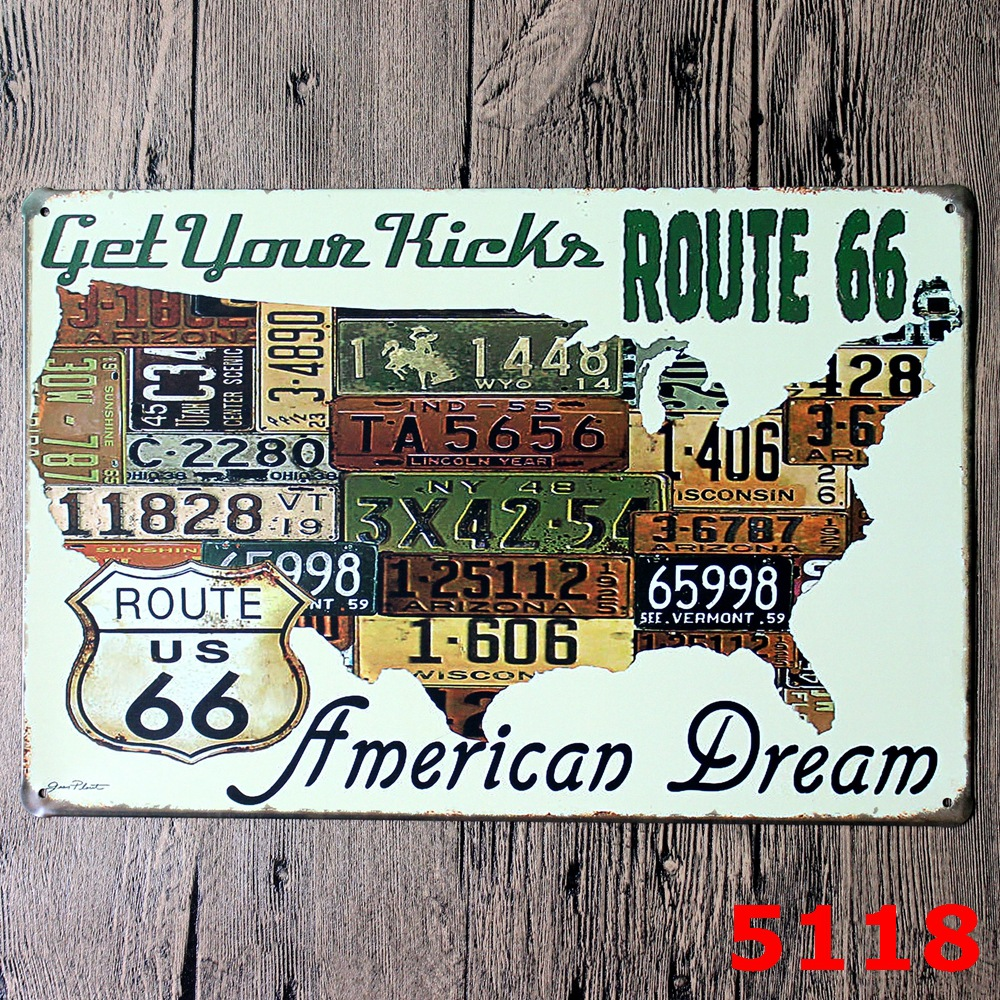 ROUTE 66 USA MAP DESIGN Metal Wall Sticker IRON Plaque PUB Wall Sticker house Tin Signs Shop Decor 20X30CM