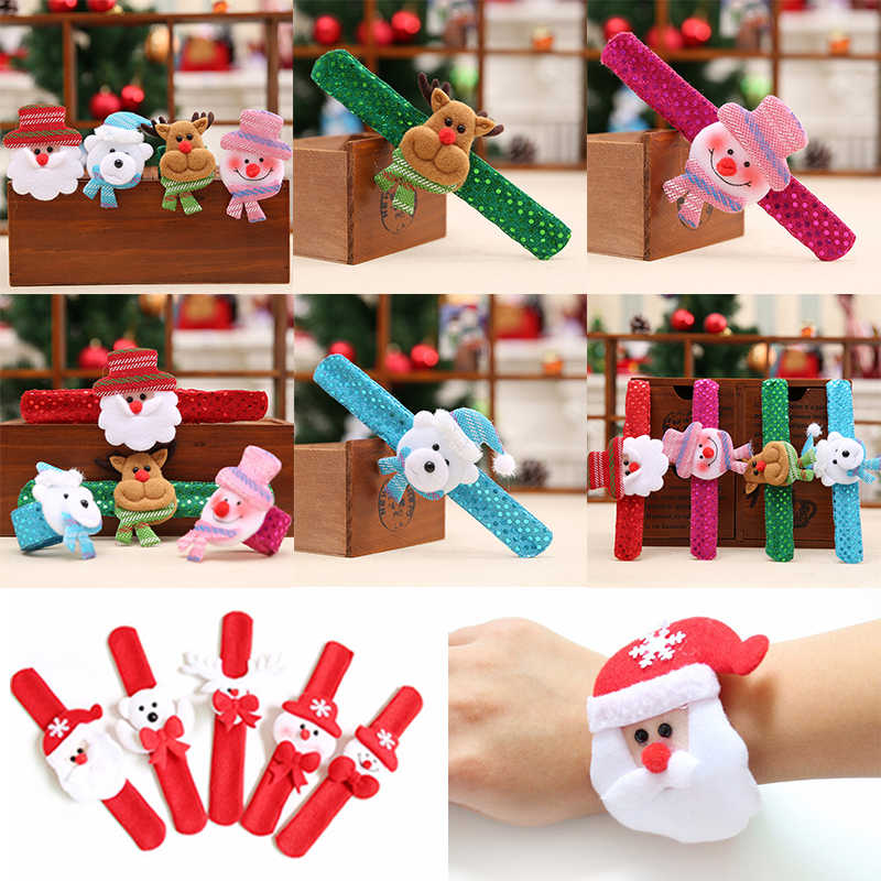 1/2/5Pcs Christmas Patting Clap Circle Bracelet Party Wrist Decor Watch Santa Claus Snowman New Year Xmas Children Gift Toy