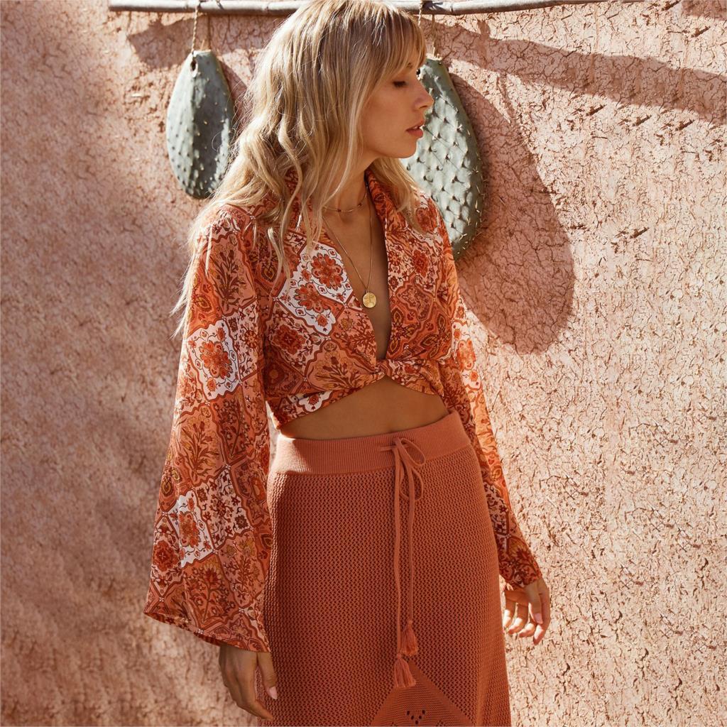 Jastie Kaleidoscope Print   Blouse     Shirt   Lace Up V-Neck Wrap Top Bell Sleeve Casual Women   Shirt   Boho Beach Crop Top   Blouses   Blusas