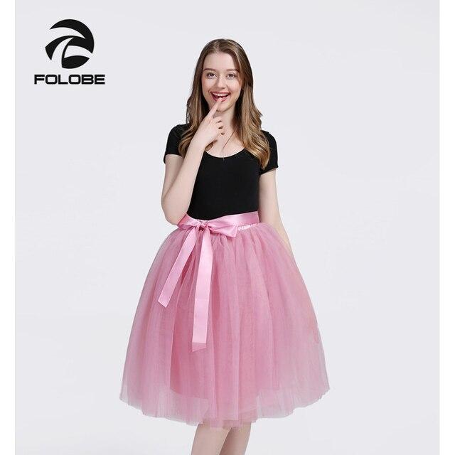 a66d3d4e0a FOLOBE Blush 7 Layers Midi Tulle Skirt Tutu Skirts Womens Petticoat Elastic  Belt faldas saia jupe