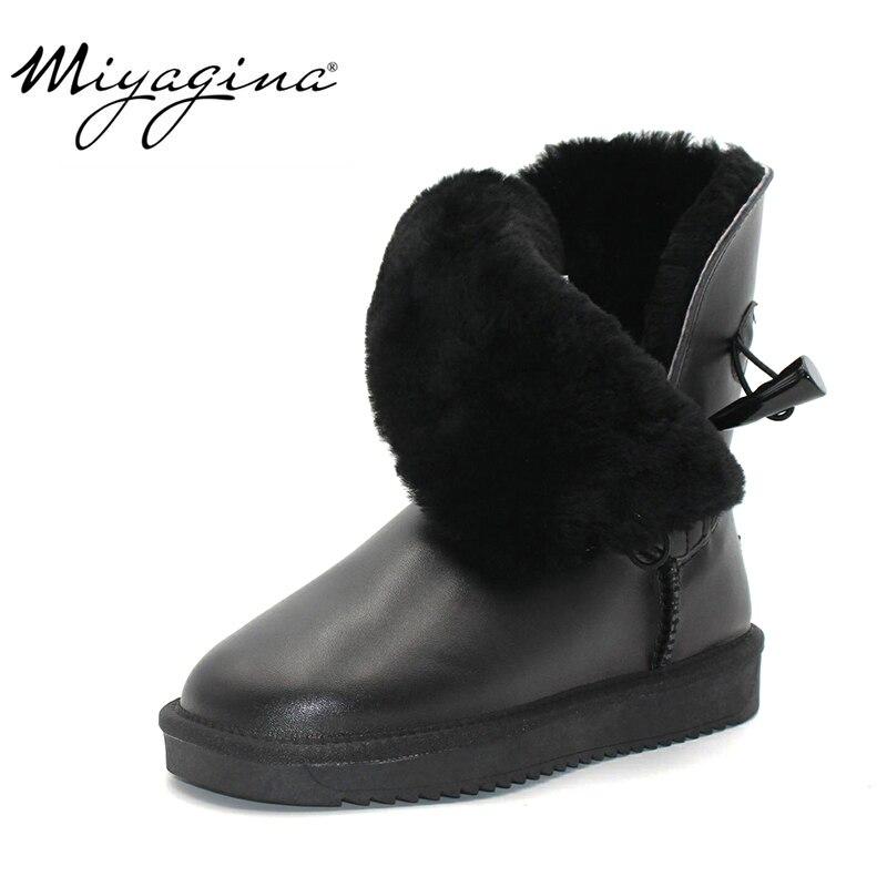 Top qualité 100% véritable cuir de vachette bottes de neige en fourrure naturelle Botas Mujer hiver réel chaussures en laine pour les femmes