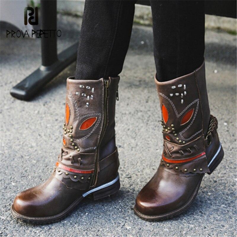 Prova Perfetto Noir Marron En Cuir Véritable Femmes Martin Bottes Femmes Bottes D'hiver Mi-mollet Plate-Forme En Caoutchouc Chaussures Femme
