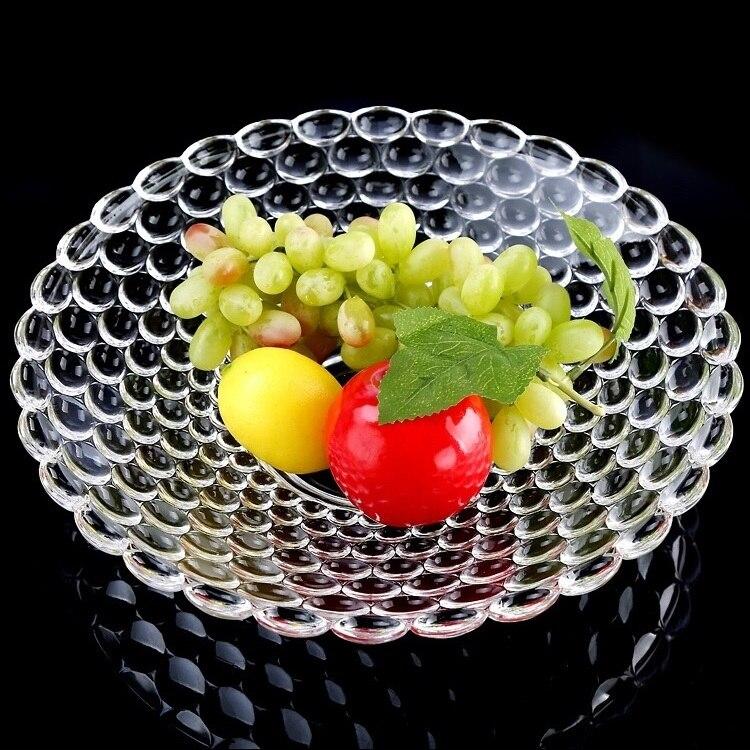 Plateau à gâteau rond en verre de 12 ''  Perles de secours, plateau de fruits décoratif, organisateur de bonbons, plateau de salon, vaisselle, verrerie de cuisine - 4
