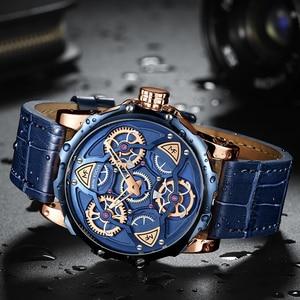 Image 4 - MINI FOCUS Blue Leather Quartz Watches Men Luxury Army Sports Wristwatch Man 3 Bar Waterproof Top Brand Relogios Masculino 0249G