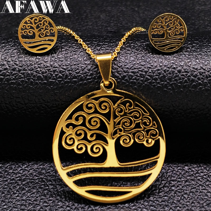 2020 Fashion Stainless Steel Necklace Earrings Set Tree of life Gold Color Jewelry Set Women Jewellery joias feminina S178326