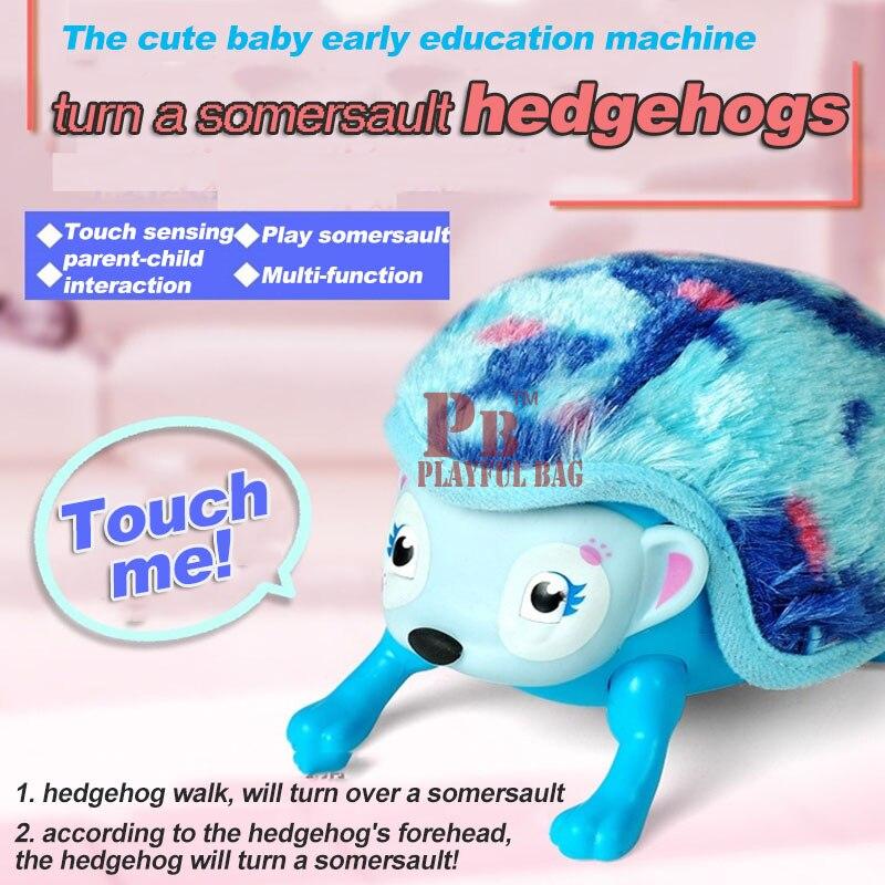 Le hérisson roulé somersault jouet électrique bébé animal de compagnie jouets en peluche devrait toucher smart hérisson jouets éducatifs