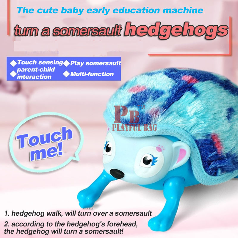 The hedgehog rolled somersault electric toy baby pet plush toys should touch smart Hedgehog Educational toys